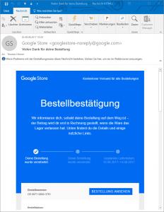 Die Bestellbestätigungs-E-Mail zu meiner Google Home Bestellung